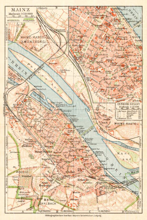 Old Map Of Mainz In 1927 Buy Vintage Map Replica Poster Print Or