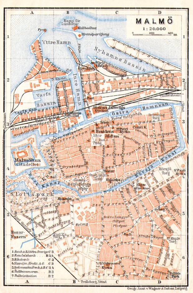 Old map of Malm in 1910 Buy vintage map replica poster print or