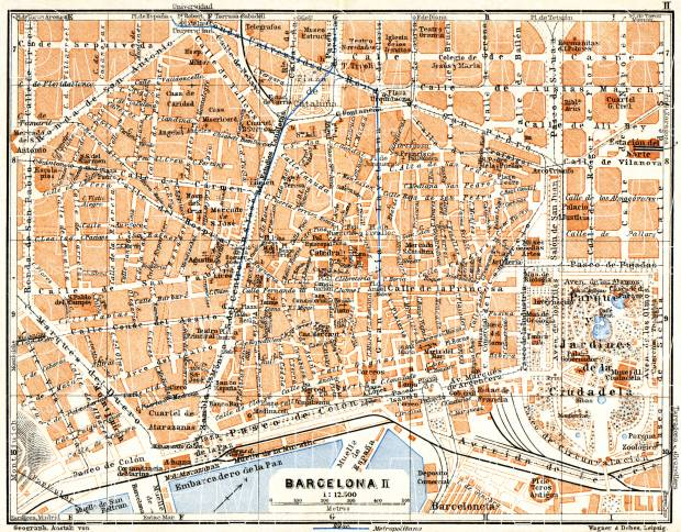 Old map of Barcelona Center in 1929 Buy vintage map replica poster