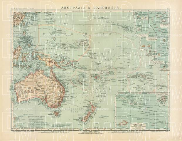 Map Of Australia To Buy.Australia And Polynesia Map In Russian 1910