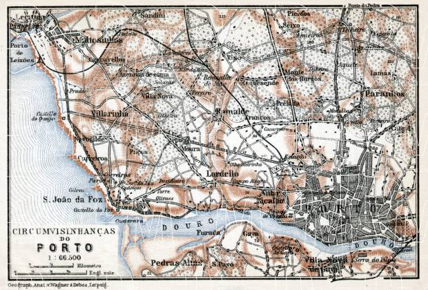 Old Map Of Porto Vicinity In Buy Vintage Map Replica Poster - Portugal map to print