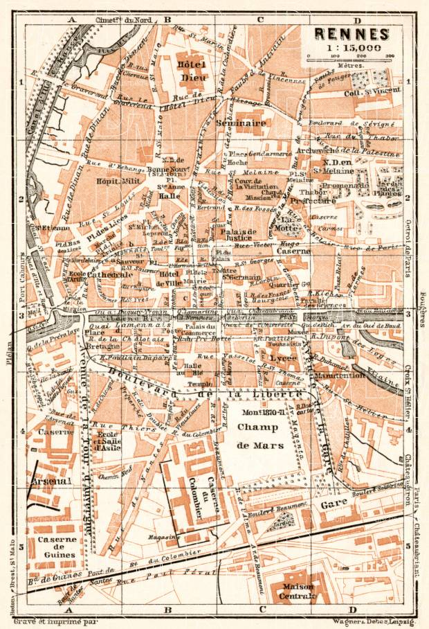 Rennes Map Of France.Rennes City Map 1909