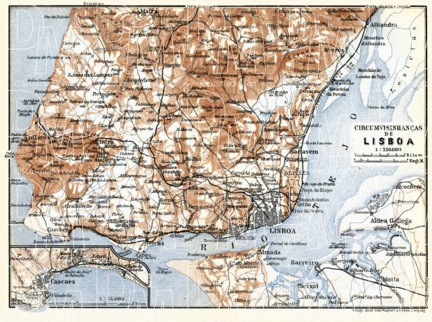 Old map of Lisbon Lisboa vicinity in 1913 Buy vintage map replica