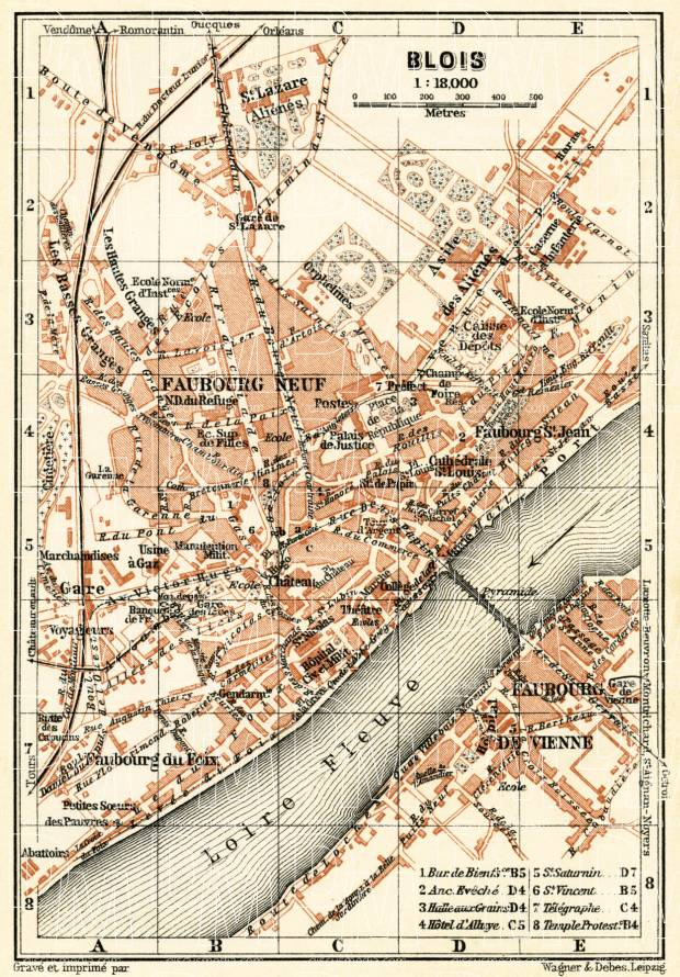 Old map of Blois in 1913 Buy vintage map replica poster print or