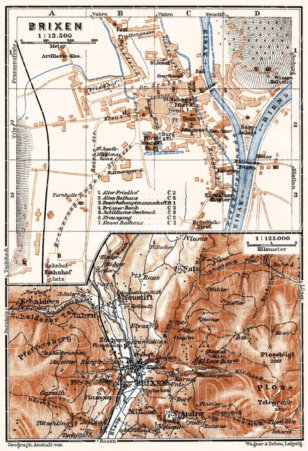Old map of the vicinities of Bressanone Brixen in 1911 Buy
