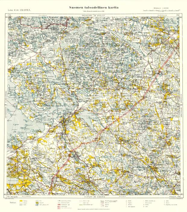 Old map of Imatra and vicinity in 1939 Buy vintage map replica