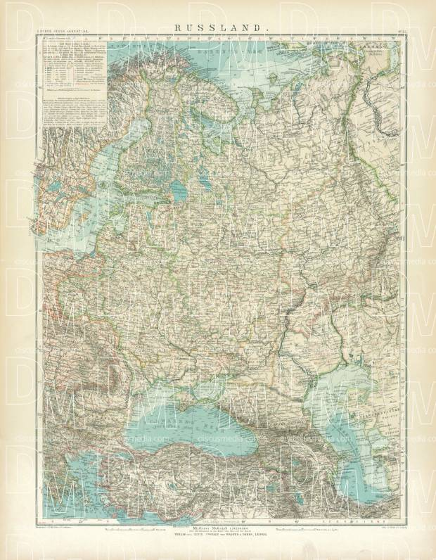 Old map of the European part of Russia in 1905. Buy vintage map ...