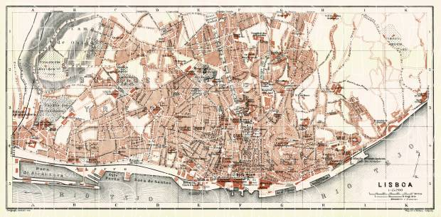 Old map of Lisbon Lisboa in 1913 Buy vintage map replica poster