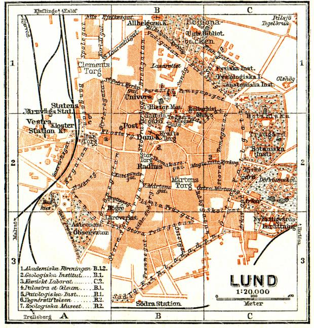 Old map of Lund in 1910 Buy vintage map replica poster print or