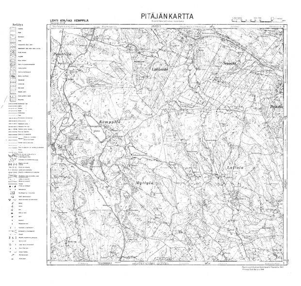 Old Map Of Kemppila Anisimovo And Close Surrounding In 1944 Buy