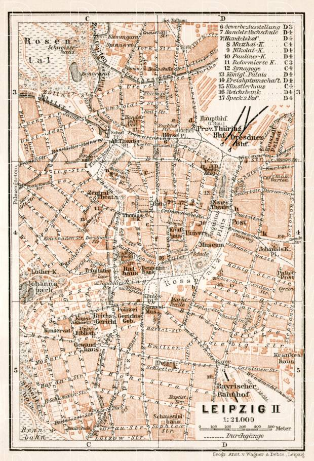 Old Map Of Leipzig Center In Buy Vintage Map Replica Poster - Map of leipzig