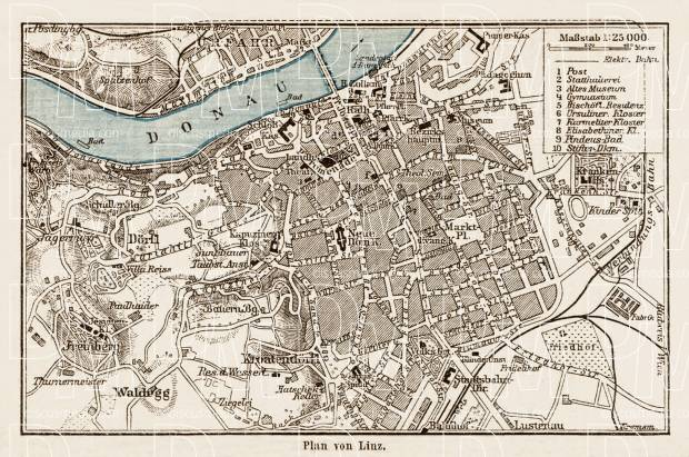 Old map of Linz in 1903 Buy vintage map replica poster print or