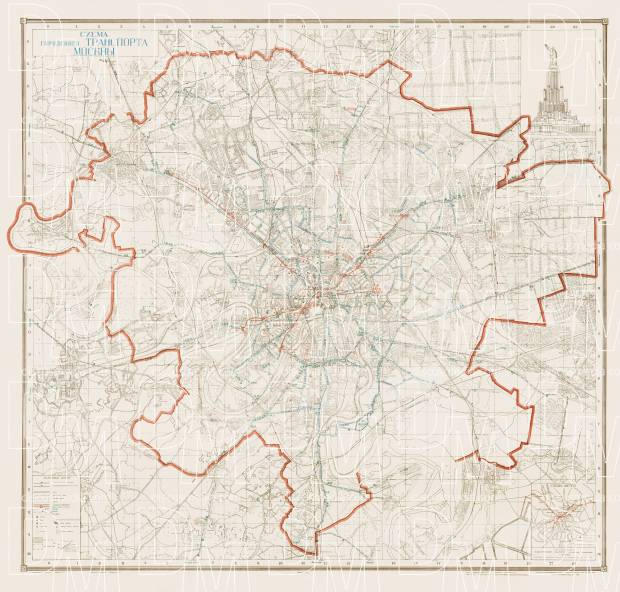 Old map of Moscow transit in 1940 Buy vintage map replica poster