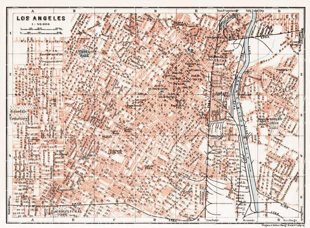 Old map of Los Angeles in 1909. Buy vintage map replica poster print City Map Of Los Angeles on