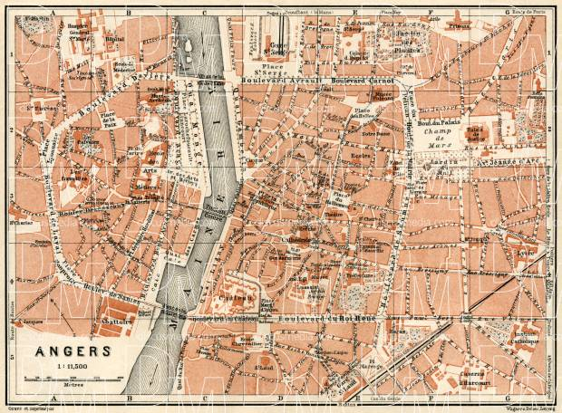 Old map of Angers in 1913 Buy vintage map replica poster print or