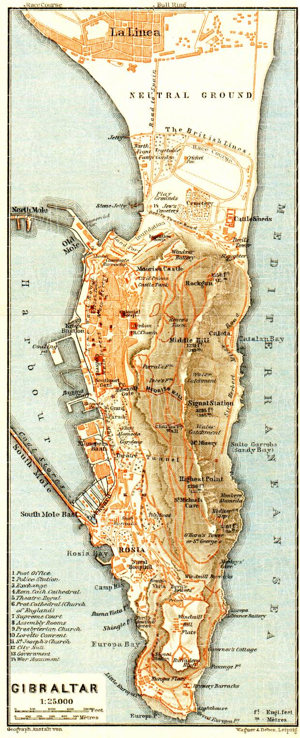 Old map of Gibraltar in 1929 Buy vintage map replica poster print