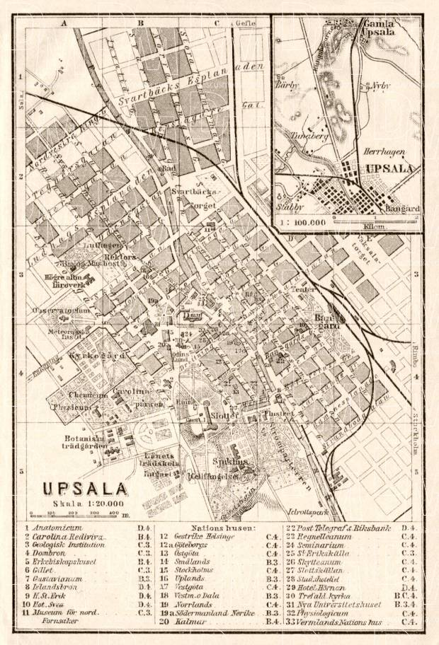 Uppsala (Upsala) city map, 1911. Use the zooming tool to explore in higher level of detail. Obtain as a quality print or high resolution image