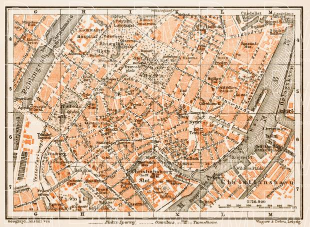 Copenhagen (Kjöbenhavn, København) central part map, 1931. Use the zooming tool to explore in higher level of detail. Obtain as a quality print or high resolution image
