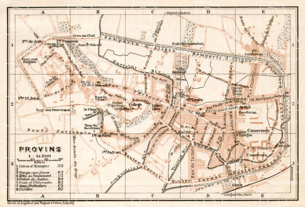 Provins city map, 1909. Use the zooming tool to explore in higher level of detail. Obtain as a quality print or high resolution image