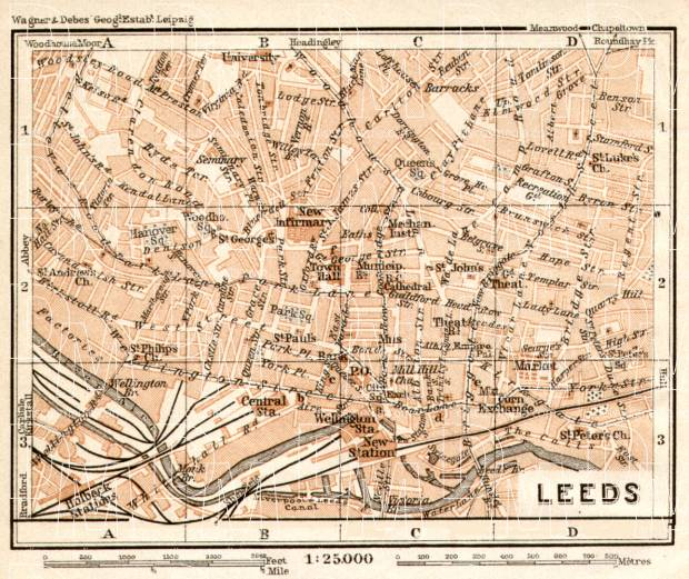 Leeds city map, 1906. Use the zooming tool to explore in higher level of detail. Obtain as a quality print or high resolution image