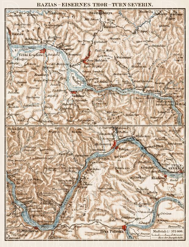 Danube River Course from Báziás (Socol, Baziaş) to the Iron Gates (Eisernes Thor) and Turn-Severin, region map, 1903. Use the zooming tool to explore in higher level of detail. Obtain as a quality print or high resolution image