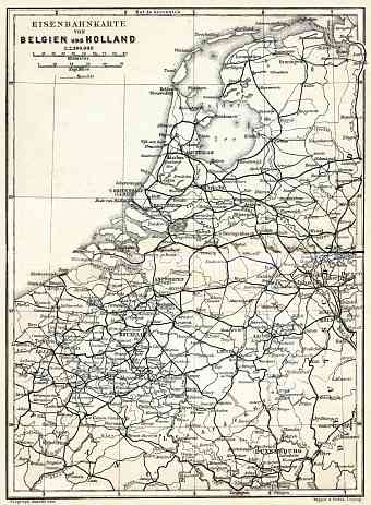 Belgium and Holland, railway map, 1904