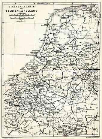 belgium and holland railway map 1904