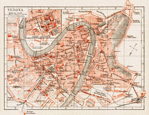 Verona city map, 1903. Use the zooming tool to explore in higher level of detail. Obtain as a quality print or high resolution image