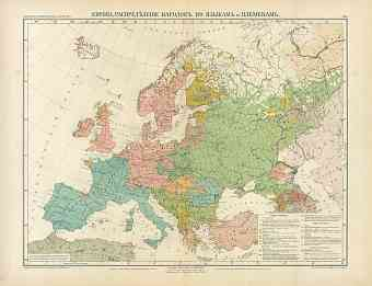 Europe Nation and Language Map (in Russian), 1910