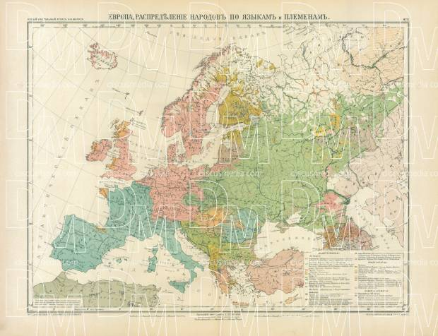 Old map of european nations and language distribution in 1910 buy europe nation and language map in russian 1910 use the zooming tool gumiabroncs Images