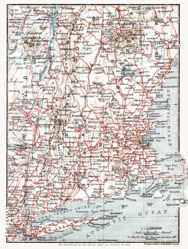 Railway Map of the New England States, 1909