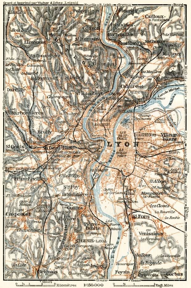 Lyon environs map, 1913. Use the zooming tool to explore in higher level of detail. Obtain as a quality print or high resolution image