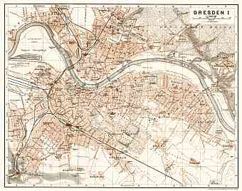 Dresden city map, 1906