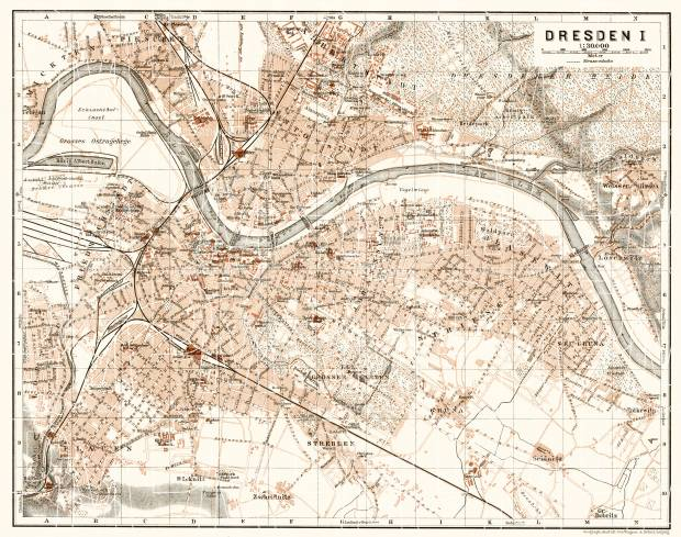 Dresden city map, 1906. Use the zooming tool to explore in higher level of detail. Obtain as a quality print or high resolution image