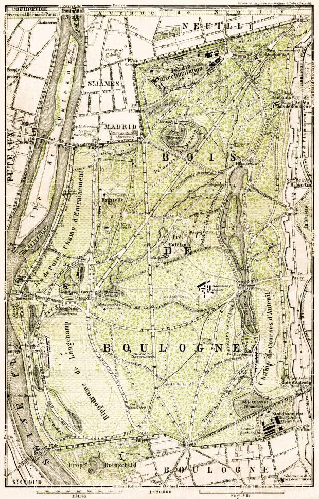 Bois de Boulogne - the Boulogne Woods map, 1903. Use the zooming tool to explore in higher level of detail. Obtain as a quality print or high resolution image