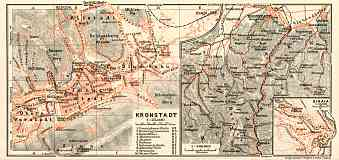 Brašov (Kronstadt), city map. Sinaia, city map. Brašov environs map, 1913
