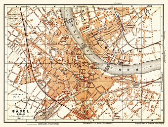 Basel (Bâle, Basle) city map, 1897