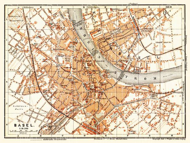 Basel (Bâle, Basle) city map, 1897. Use the zooming tool to explore in higher level of detail. Obtain as a quality print or high resolution image