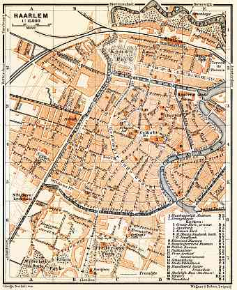 Historical map prints of Haarlem in Netherlands for sale and