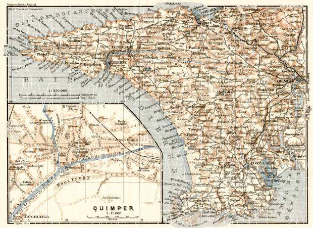 Quimper city map, 1913. Inset: the Western Bretagne. Use the zooming tool to explore in higher level of detail. Obtain as a quality print or high resolution image