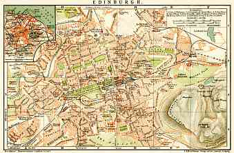 Edinburgh city map, 1899. Environs of Edinburgh