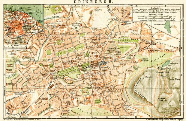 Old map of Edinburgh and Edinburgh vicinity in 1899 Buy vintage map