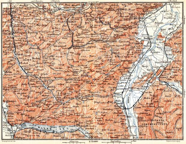 Map of Canton of Appenzell, 1897. Use the zooming tool to explore in higher level of detail. Obtain as a quality print or high resolution image