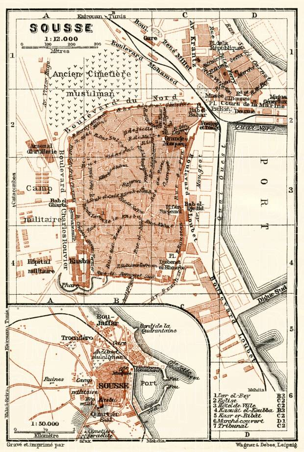 Sousse city map, 1909. Use the zooming tool to explore in higher level of detail. Obtain as a quality print or high resolution image