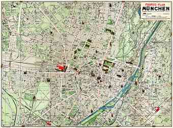 München (Munich) city map, 1912