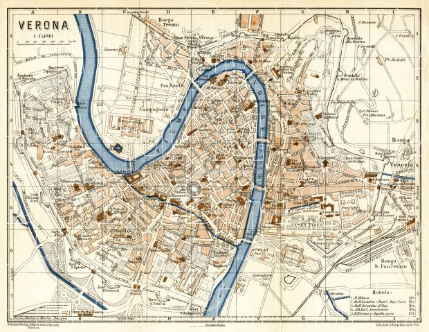 Verona city map, 1929. Use the zooming tool to explore in higher level of detail. Obtain as a quality print or high resolution image