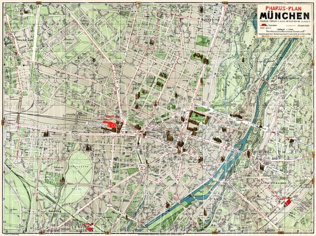 Old map of Mnchen Munich in 1912 Buy vintage map replica poster