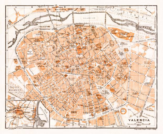 Valencia city map, 1929. Use the zooming tool to explore in higher level of detail. Obtain as a quality print or high resolution image