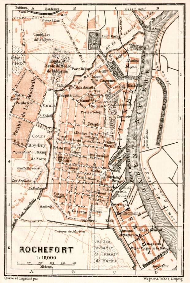 Rochefort city map, 1902. Use the zooming tool to explore in higher level of detail. Obtain as a quality print or high resolution image