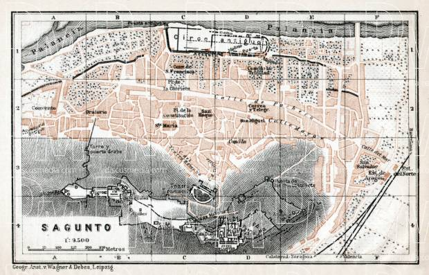 Sagunto city map, 1913. Use the zooming tool to explore in higher level of detail. Obtain as a quality print or high resolution image